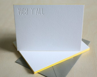 Edge Painted Letterpress Stationery - Hey Y'All Southern Thank You Notes, Blind Impression, Letterpress Notecards