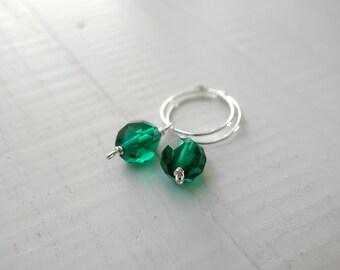 Small hoop earrings green beads earrings silver hoop earrings minimalist earrings for women