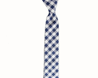 Harvey - Navy/White Gingham Cotton Men's Tie