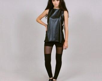 Sheer black leggings faux thigh high M goth soft grunge ROGUEMINX