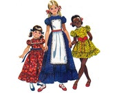 70s Girls Boho Peasant Dress & Apron Pattern Simplicity 9732 Hollie Hobbie Style Puff Sleeves Vintage Sewing Pattern Size 10 Breast 28 1/2