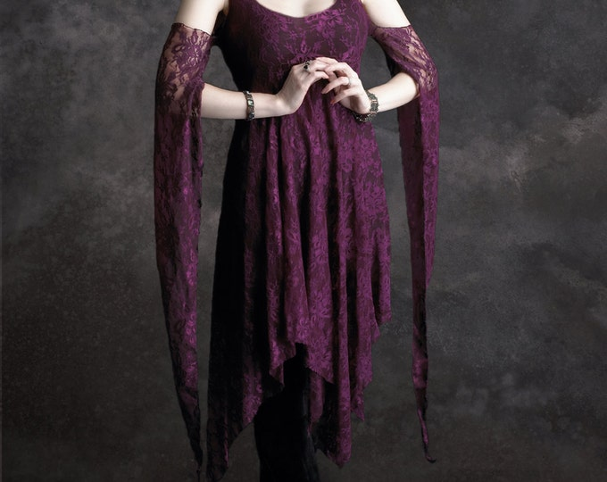 Eolande Fairy Tale Romantic Gothic Wedding Dress - Handmade Bespoke Romantic Gothic Witch Pointy Skirt Dress