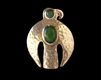 Bird Pendant with Jade