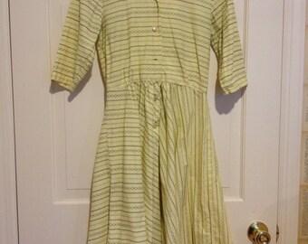 50s Yellow Pattern Day Dress Short Sleeve