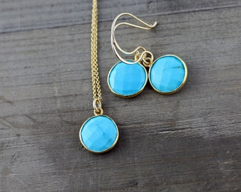 Turquoise Necklace and Earrings Set on 14k Gold Fill