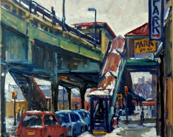 The Subway at 215th, Snow. 12x12 Oil on Canvas, Urban Impressionist Plein Air Landscape, Signed Original NYC Realist Cityscape Painting