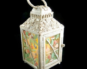 Lantern embellished with clay for wedding or party