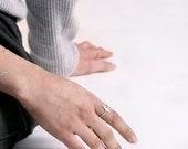 SALE Mini Tusk Ring. Bar Ring. Cross Ring. Hammered.