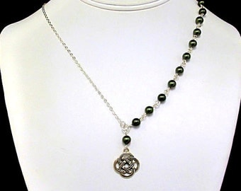 Necklace - Asymmetric Pearls with a Celtic Pendant