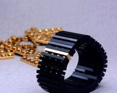 Black bracelet with real gold plated brick made with LEGO bricks