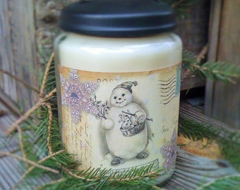 26oz Apothecary Jar Candle - Soy - Handmade - Highly Scented - Snow Creme Scent - Only 23.99