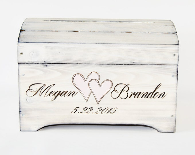 Small Personalized Card Box in Shabby Chic Whitewash Finish- Personalized card box