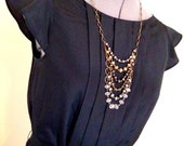 Mixed Metal Bib Necklace, Crystal Statement Necklace, Bronze, Silver, and Gold