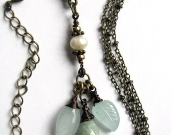 Aquamarine and Pearl Multistrand Necklace