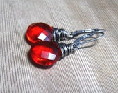 Orange Quartz Earrings,  Wire Wrapped In Sterling Silver,  Fanta Orange Dangle Earrings
