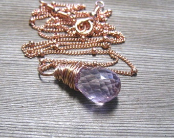 Rose Gold Pink Amethyst Necklace, February Birthstone,  Lavender Gemstone, Pink Gold Jewelry,  Rose de France Pendant