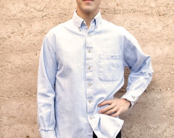 classic vintage prep school DROPOUT chambray denim blue 90s TWIN PEAKS long sleeve cotton button up