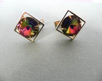 Vintage Cufflinks Cool 60s Prism Stone Links - on sale