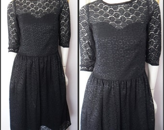 Vtg.80s Black Sheer  Lace 50s Style Long Dress by Shivam.Small.Bust 34.Waist 30.