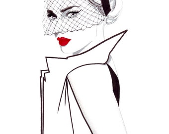 Watercolour fashion illustration Titled 40's Glamour