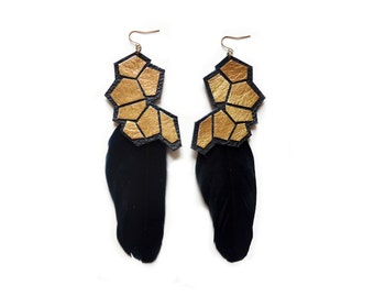 Black Feather and Gold Geometric Earrings, Modern Metallic Jewelry, Hexagon Leather Earrings