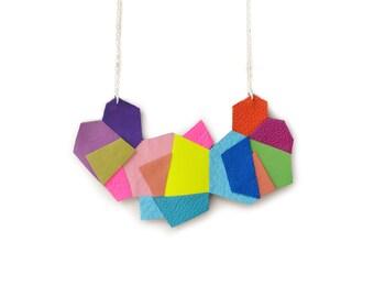 Geometric Bib Necklace, Colorful Polygon Hexagon Leather Necklace, Rainbow Neon Modern Jewelry, Fiber Art Geometric Jewelry