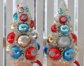 2 Santa Bottle Brush Christmas Trees glass pink red aqua ornaments garland Chic bottlebrush Shabby Vintage Inspired Winter Wonderland