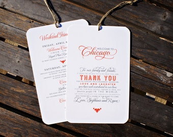 NEW - Welcome to Personalized City / Itinerary Tag - Destination Wedding Welcome Bags - 4.5 x 7 -  Custom Colors Available