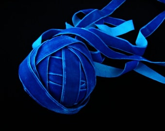 "Hand Dyed 3 yards 5/8"" wide (16 mm )  luxurious plush Royal Blue ribbon Millinery Made in Switzerland ST 102914"