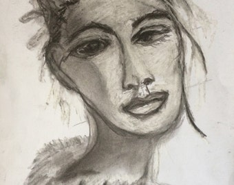 Art Soul Sister -8x10 Print of Graphite Drawing of Female by Trish Vernazza