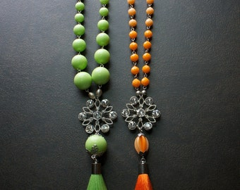 Long Vivid Lime Green and Orange Tassel Necklaces with Rhinestones and Silver Chain
