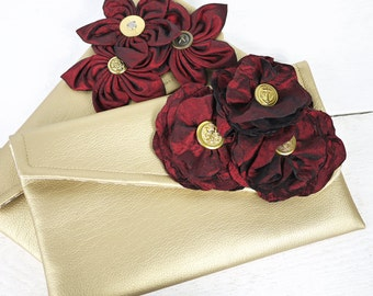 Bridesmaid Clutch Set of 2/Burgundy Wedding Purse/Any color you wish