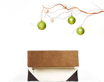 Holiday gift for her | Fold over clutch purse in brown and cream