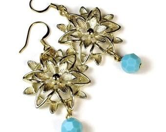 Repurposed Vintage, Gold Flower Dangle Earrings, Upcycled Jewelry, Turquoise Drop Earrings