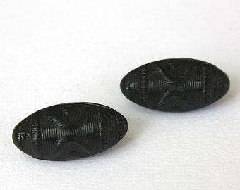 Vintage Buttons Pair Oblong Black Glass Decorative Deco Buttons