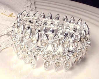 Vintage Art Deco Rhinestone Wide Link Bridal Bracelet, 1920 Jewelry, Great Gatsby Wedding, Silver Leaves Pave Clear Crystal Flapper Bracelet