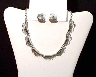 Coro Silver-tone Necklace and Earrings Set - Demi Parure  (1387-1)