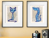 Pouty Puss/Prideful Pup LitKids Dictionary Dog and Cat Print Set, Blue/Teal