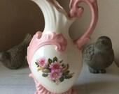 Vintage Vase Pitcher Pink Cream Floral Shabby Chic