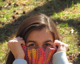 Pink Scarf, Womens Scarf, Neckwarmer, Tangerine Cowl, Purple, Pink Zipper, Pink Scarf, Yellow, Skinny, Winter Accessories, Winter Fashion