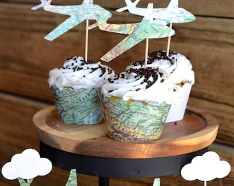 Vintage Map Airplane Cupcake Toppers