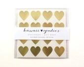 64 Gold heart stickers  - 3/4 inch gold foil mini hearts