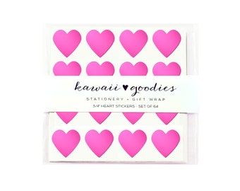 64 Fluorescent Hot Pink heart stickers  - 3/4 inch mini hot pink heart Stickers - FREE SHIPPING