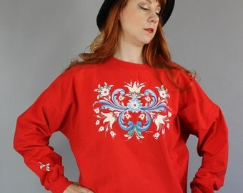 SALE - Vintage Red Folk Art Design Pullover Holiday Christmas Cotton Shirt