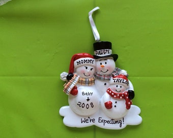Personalized Christmas Ornament Pregnant Snowman Family with One Child,Pregnant Couple's second child,Expecting Parents Mom to be, Dad to be
