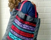 Quilted Tote Bag, Scandinavian Pattern, Padded Shopping Bag, Hipster Winter Accessories, Geometric Shoulder Bag - Black, Red, Purple, Teal