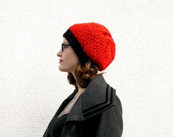 Knitted Slouchy Beanie, Red and Black Double Layer Beanie, Winter Fashion Accessory, Hand Knit Womens Hat, Teenagers - Bright Red and Black
