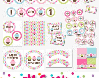 Cupcake Party Package - Cupcake Birthday Party Decorations -  Cupcake Birthday Party Printable Package - Polka Dot - Personalized - Pdf