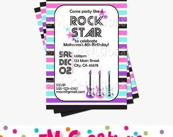 Rock Star Invitation - Rock Star Birthday Party Invitation - Rock Star Printable Invitation - Rock N Roll Invite - Stars and Stripes Invite
