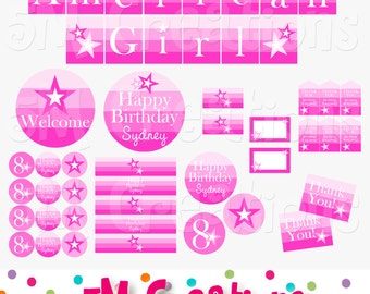 American Girl Inspired Birthday Party Printable Decorations Package - Personalized Star Birthday Printable - Doll Party Banner - Pdf